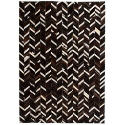 Vloerkleed chevron patchwork 160x230 cm echt leer zwart/wit