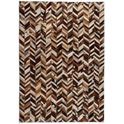 Vloerkleed chevron patchwork 190x290 cm echt leer bruin/wit