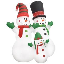 Kerstsneeuwpoppen Santa Family opblaasbaar LED IP44 240 cm