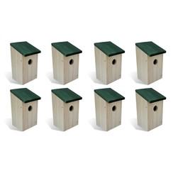 Vogelhuisjes 8 st 12x12x22 cm hout