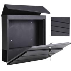 Brievenbus 37x10,5x37 cm gegalvaniseerd ijzer zwart