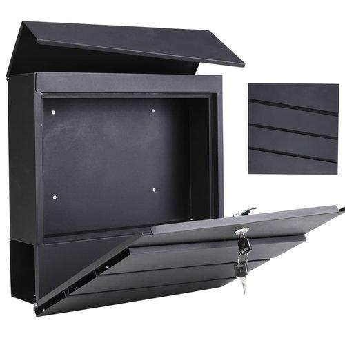 HI Brievenbus 37x10,5x37 cm gegalvaniseerd ijzer zwart