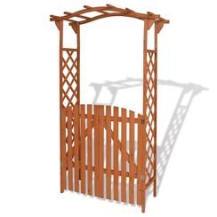 Tuinboog met poort 120x60x205 cm massief hout