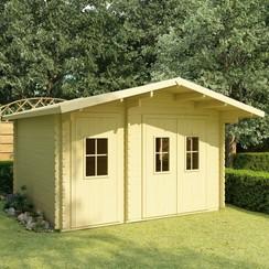 Blokhut met vloer 44 mm 410x320x264 cm massief grenenhout