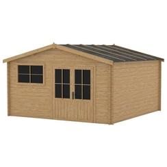 Blokhut met raam 28 mm 400x400 cm hout