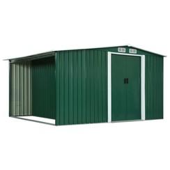 Tuinschuur met schuifdeuren 329,5x259x178 cm staal groen