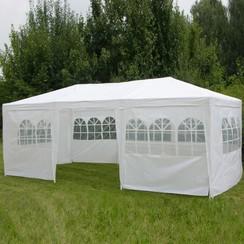 Tuinpaviljoen met zijwanden 3x6 m Wit