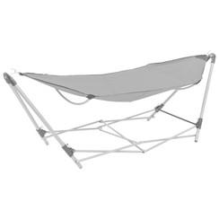 Hangmat met inklapbare standaard grijs