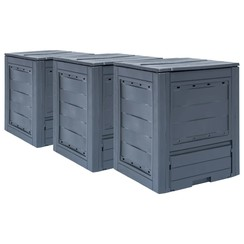 Compostbakken 3 st 780 L 60x60x73 cm grijs