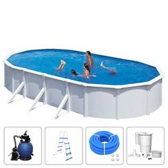Zwembadset Steely Deluxe ovaal 7,3x3,6x1,2 m