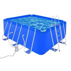 Zwembad met ladder en pomp staal 400x207x122 cm