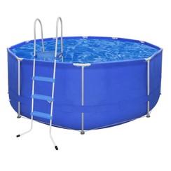 Opbouwzwembad met stalen frame en trap 367 x 122 cm rond