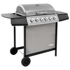 Gasbarbecue met 6 branders zwart en zilverkleurig