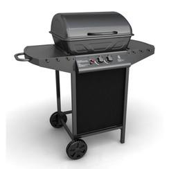 Gasbarbecue met 2 kookzones zwart