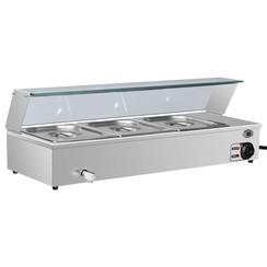 Voedselwarmer bain-marie met 3 schalen GN 1/2 roestvrij staal