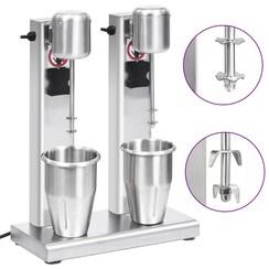 Milkshake mixer met dubbele bekers roestvrij staal 2 L
