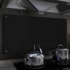 Spatscherm keuken 100x50 cm gehard glas zwart