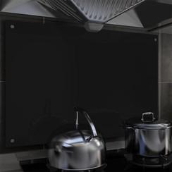 Spatscherm keuken 90x60 cm gehard glas zwart
