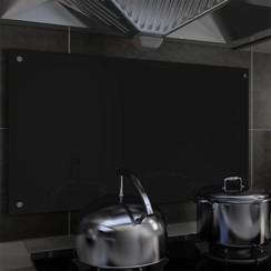 Spatscherm keuken 90x50 cm gehard glas zwart
