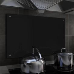 Spatscherm keuken 80x50 cm gehard glas zwart