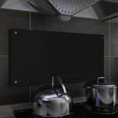 Spatscherm keuken 80x40 cm gehard glas zwart