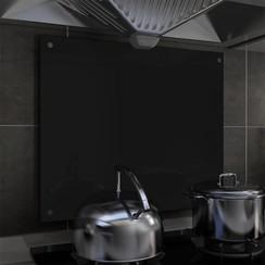 Spatscherm keuken 70x60 cm gehard glas zwart