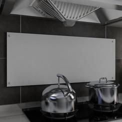 Spatscherm keuken 100x40 cm gehard glas wit