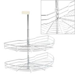 Draadmand keuken 2-laags 180 graden 75x38x80 cm zilverkleurig