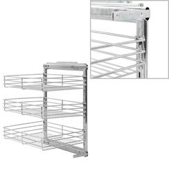 Draadmand keuken uittrekbaar 3-laags 47x35x56 cm zilverkleurig