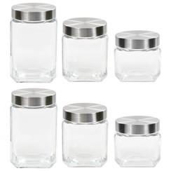 Opbergpotten met zilverkleurig deksel 6 st 800/1200/1700 ml