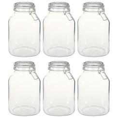 Potten met sluiting 6 st 3 L glas