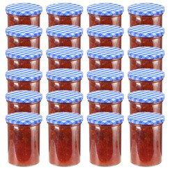 Jampotten met wit met blauwe deksels 24 st 400 ml glas