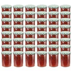 Jampotten met wit met groene deksels 48 st 400 ml glas