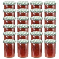 Jampotten met wit met groene deksels 24 st 400 ml glas