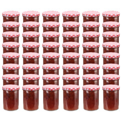 Jampotten met wit met rode deksels 48 st 400 ml glas