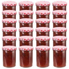 Jampotten met wit met rode deksels 24 st 400 ml glas