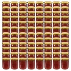 Jampotten met goudkleurige deksels 96 st 230 ml glas