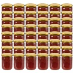 Jampotten met goudkleurige deksels 48 st 230 ml glas