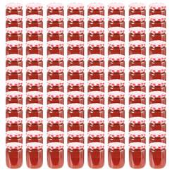 Jampotten met wit met rode deksels 96 st 230 ml glas