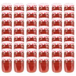 Jampotten met wit met rode deksels 48 st 230 ml glas