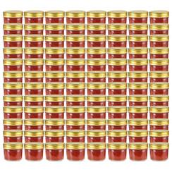 Jampotten met goudkleurige deksels 96 st 110 ml glas