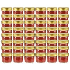 Jampotten met goudkleurige deksels 48 st 110 ml glas