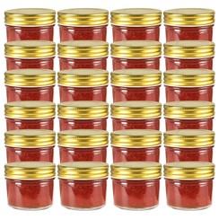 Jampotten met goudkleurige deksels 24 st 110 ml glas