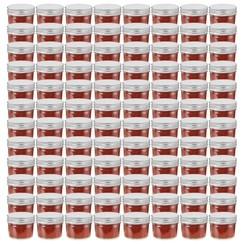 Jampotten met zilverkleurige deksels 96 st 110 ml glas