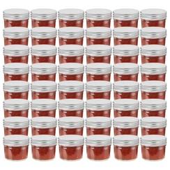 Jampotten met zilverkleurige deksels 48 st 110 ml glas