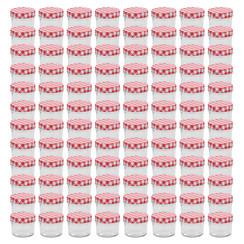 Jampotten met wit met rode deksels 96 st 110 ml glas