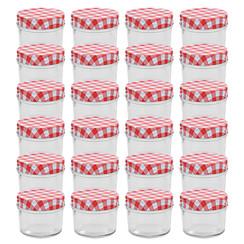 Jampotten met wit met rode deksels 24 st 110 ml glas