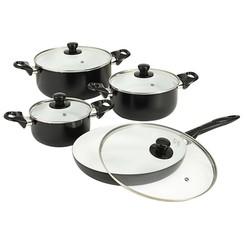 8-delige Kookgereiset aluminium zwart