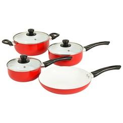 7-delige Kookgereiset aluminium rood