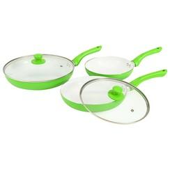 5-delige Koekenpannenset aluminium groen
